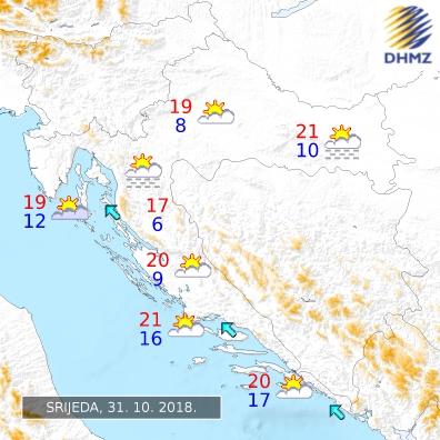 Chorvatsko počasí zítra